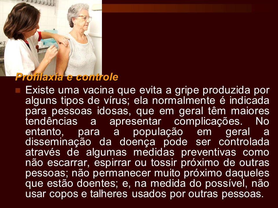 Profilaxia e controle Existe uma vacina que evita a gripe produzida por alguns tipos de vírus; ela normalmente é indicada para pessoas idosas, que em