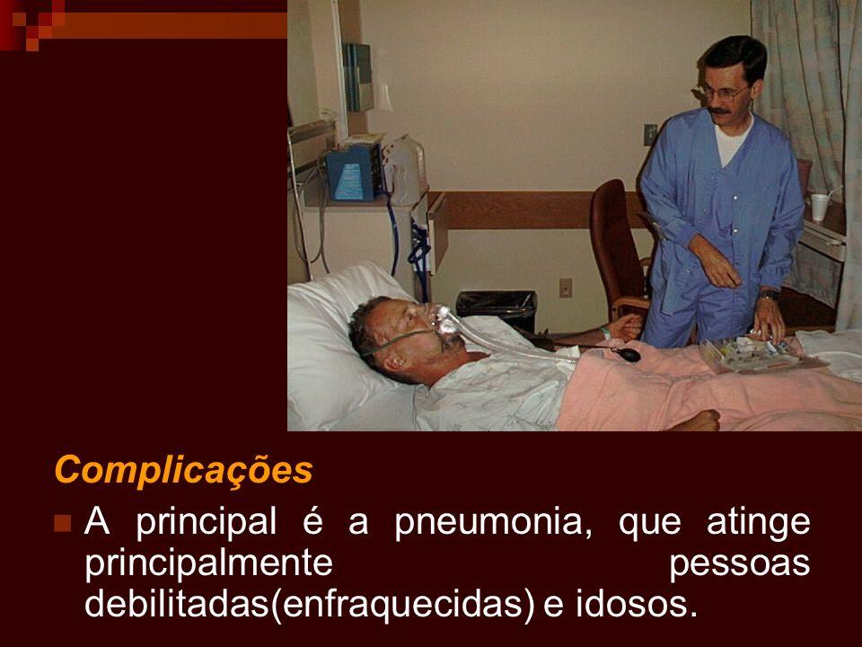 Complicações A principal é a pneumonia, que atinge principalmente pessoas debilitadas(enfraquecidas) e idosos.