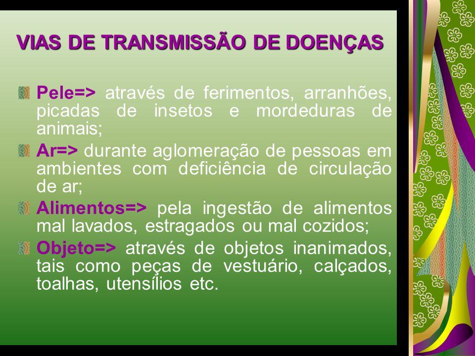VIAS DE TRANSMISSÃO DE DOENÇAS Pele=> através de ferimentos, arranhões, picadas de insetos e mordeduras de animais; Ar=> durante aglomeração de pessoa
