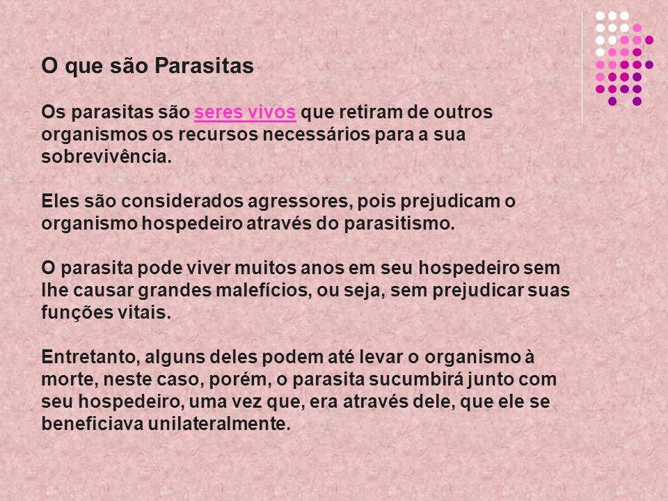 O que são Parasitas Os parasitas são seres vivos que retiram de outros organismos os recursos necessários para a sua sobrevivência. Eles são considera