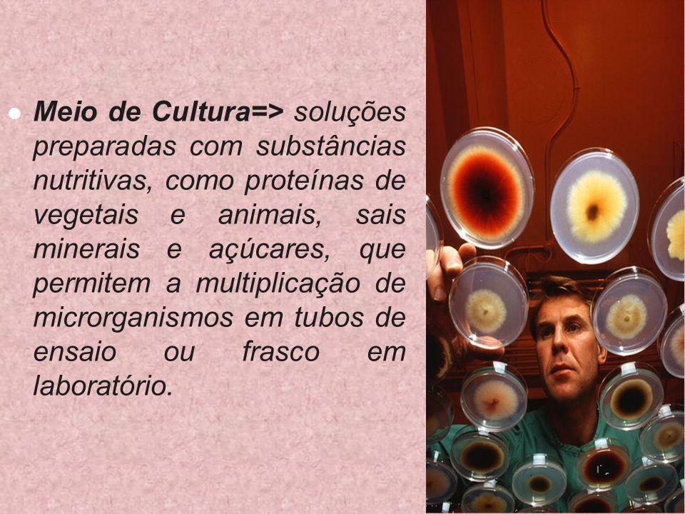 Meio de Cultura=> soluções preparadas com substâncias nutritivas, como proteínas de vegetais e animais, sais minerais e açúcares, que permitem a multi