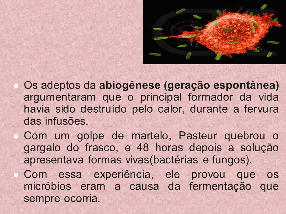 Os adeptos da abiogênese (geração espontânea) argumentaram que o principal formador da vida havia sido destruído pelo calor, durante a fervura das inf