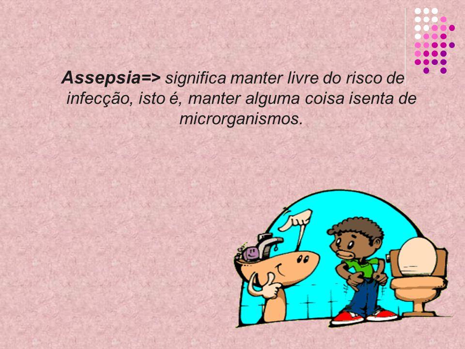 Assepsia => significa manter livre do risco de infecção, isto é, manter alguma coisa isenta de microrganismos.