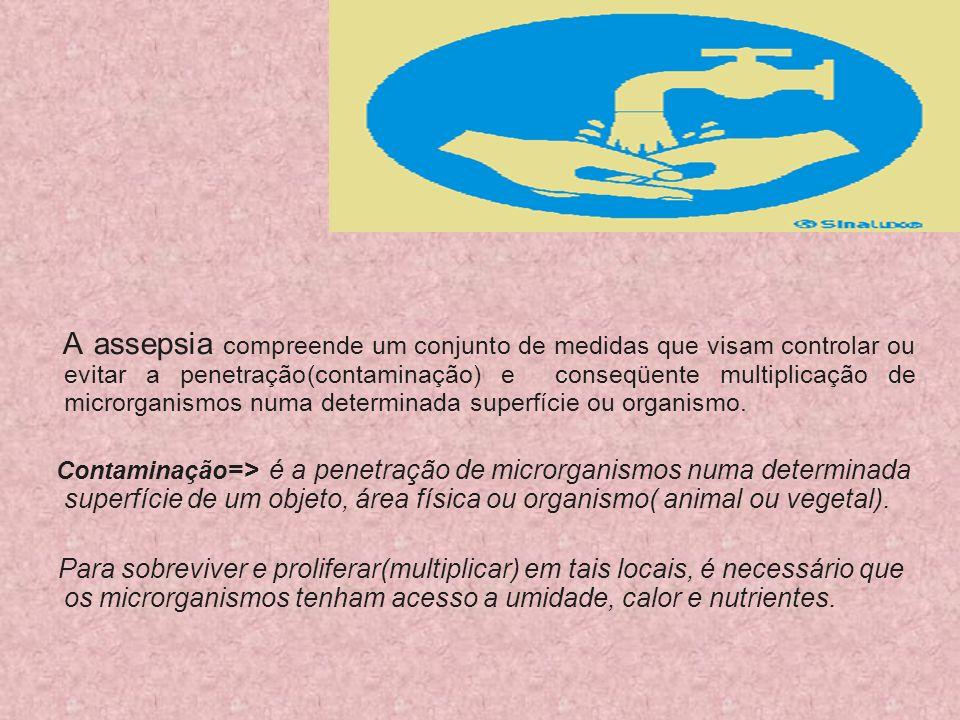 A assepsia compreende um conjunto de medidas que visam controlar ou evitar a penetração(contaminação) e conseqüente multiplicação de microrganismos nu