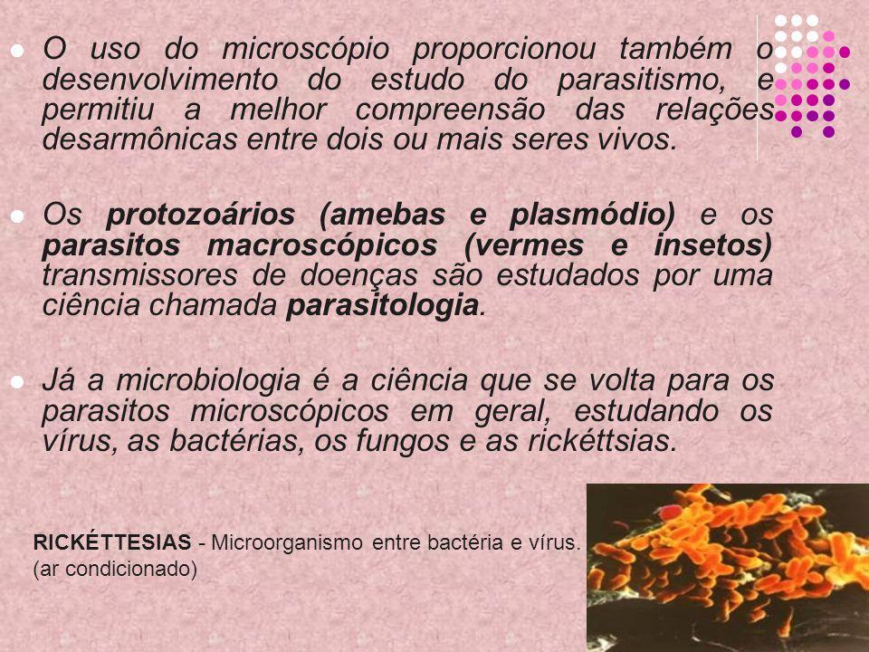 O uso do microscópio proporcionou também o desenvolvimento do estudo do parasitismo, e permitiu a melhor compreensão das relações desarmônicas entre d