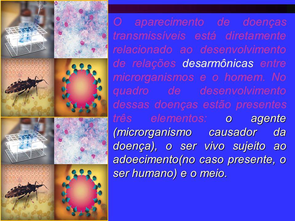 o agente (microrganismo causador da doença), o ser vivo sujeito ao adoecimento(no caso presente, o ser humano) e o meio. O aparecimento de doenças tra
