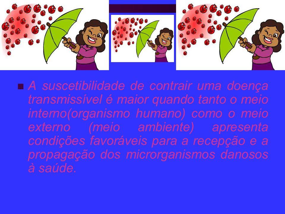 A suscetibilidade de contrair uma doença transmissível é maior quando tanto o meio interno(organismo humano) como o meio externo (meio ambiente) apres