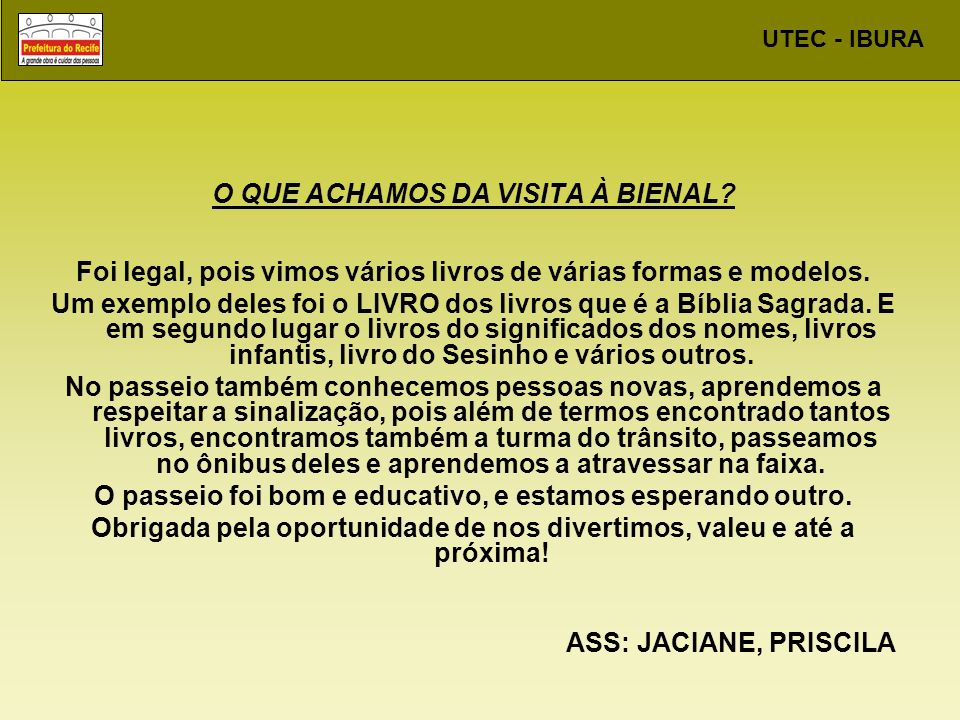UTEC - IBURA RELEITURA DA OBRA DE LADJANE BANDEIRA