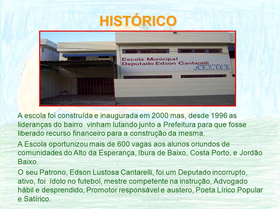 HISTÓRICO A escola foi construída e inaugurada em 2000 mas, desde 1996 as lideranças do bairro vinham lutando junto a Prefeitura para que fosse liberado recurso financeiro para a construção da mesma.