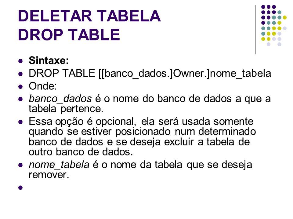 DELETAR TABELA DROP TABLE Sintaxe: DROP TABLE [[banco_dados.]Owner.]nome_tabela Onde: banco_dados é o nome do banco de dados a que a tabela pertence.