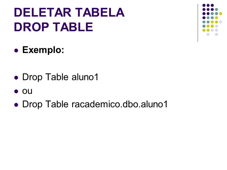 DELETAR TABELA DROP TABLE Exemplo: Drop Table aluno1 ou Drop Table racademico.dbo.aluno1