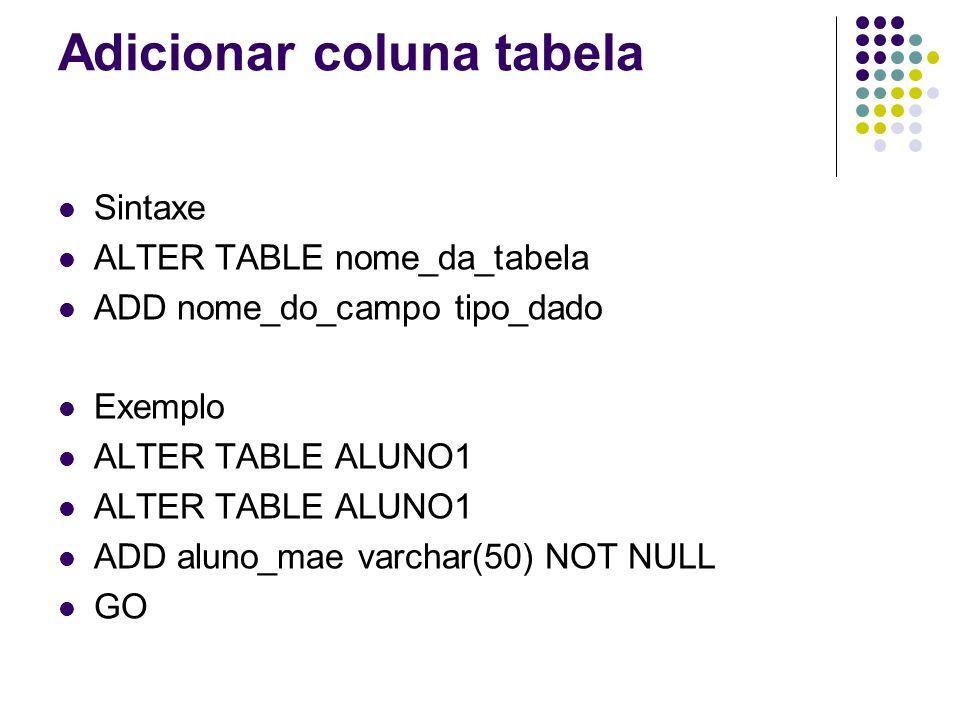 Adicionar coluna tabela Sintaxe ALTER TABLE nome_da_tabela ADD nome_do_campo tipo_dado Exemplo ALTER TABLE ALUNO1 ADD aluno_mae varchar(50) NOT NULL GO