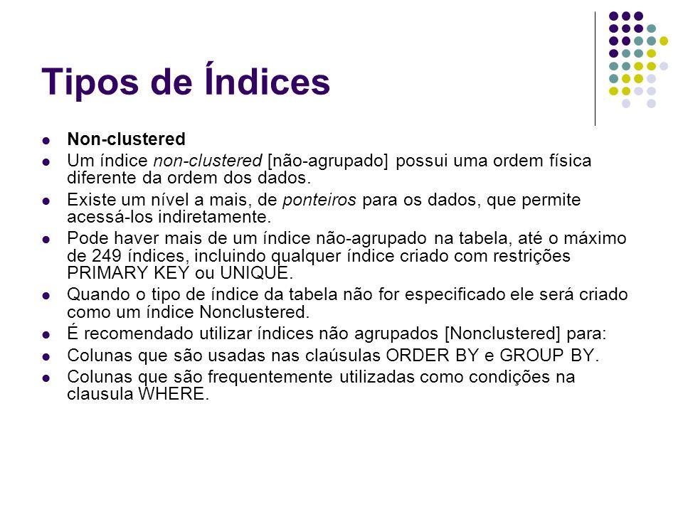 Tipos de Índices Non-clustered Um índice non-clustered [não-agrupado] possui uma ordem física diferente da ordem dos dados.