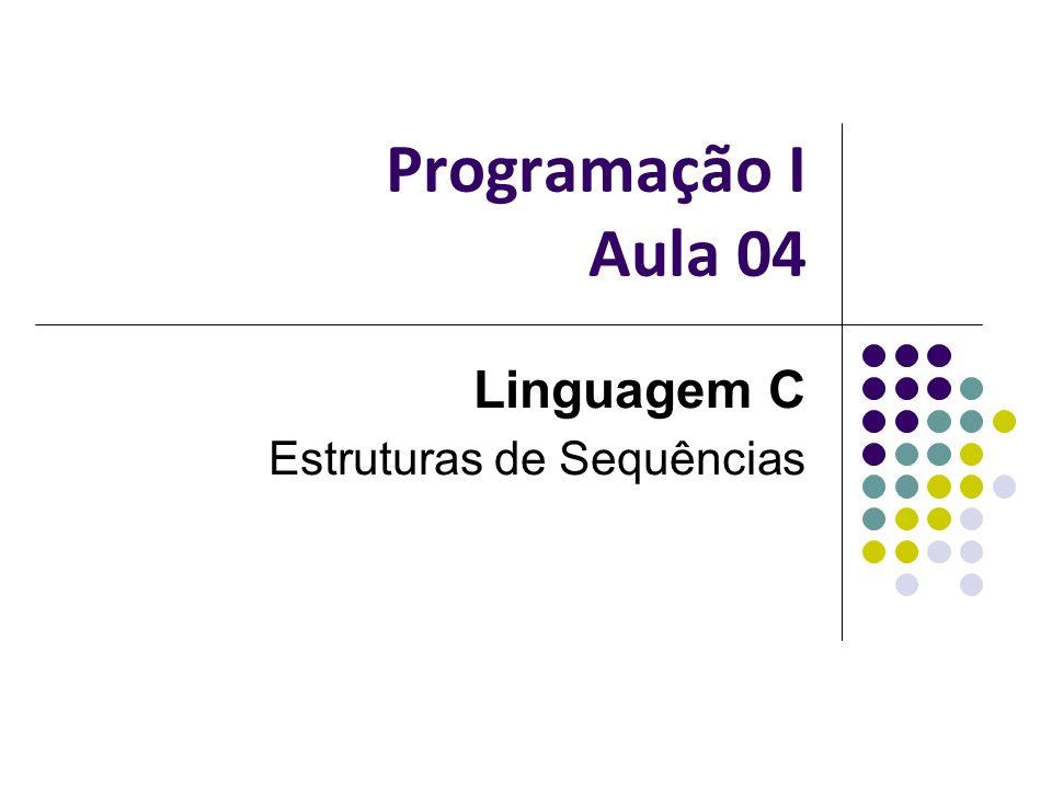 Programação I Aula 04 Linguagem C Estruturas de Sequências