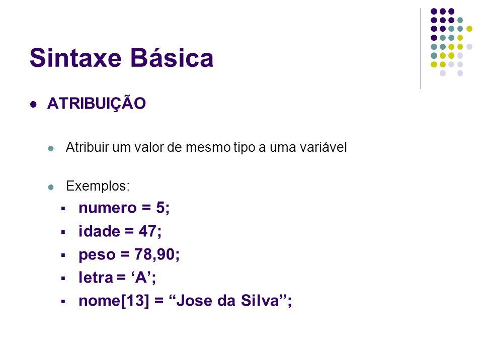 Sintaxe Básica ATRIBUIÇÃO Atribuir um valor de mesmo tipo a uma variável Exemplos: numero = 5; idade = 47; peso = 78,90; letra = A; nome[13] = Jose da