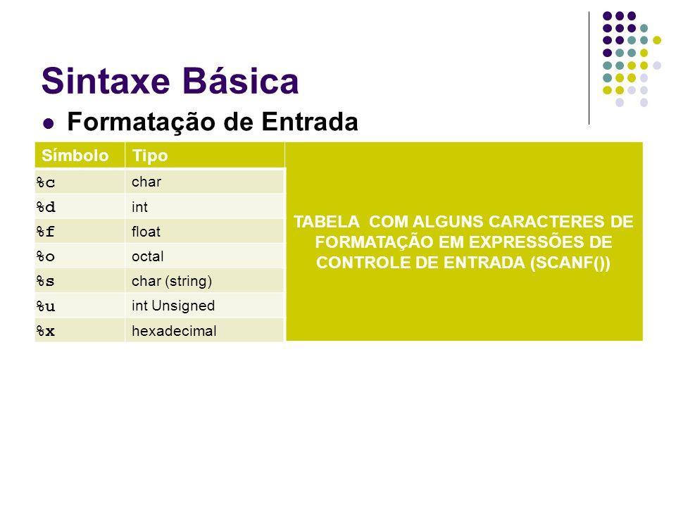 SímboloTipo TABELA COM ALGUNS CARACTERES DE FORMATAÇÃO EM EXPRESSÕES DE CONTROLE DE ENTRADA (SCANF()) %c char %d int %f float %o octal %s char (string