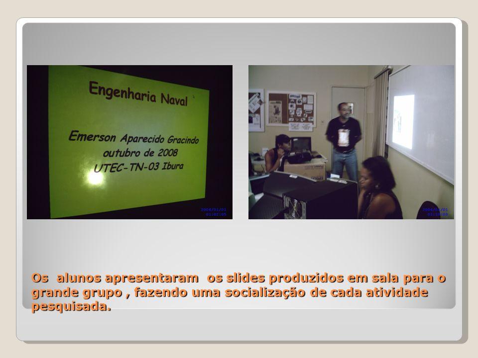 Os alunos apresentaram os slides produzidos em sala para o grande grupo, fazendo uma socialização de cada atividade pesquisada.