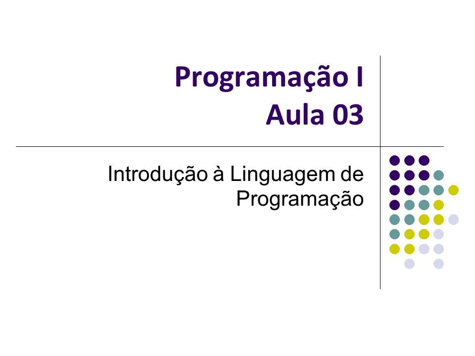Programação I Aula 03 Introdução à Linguagem de Programação
