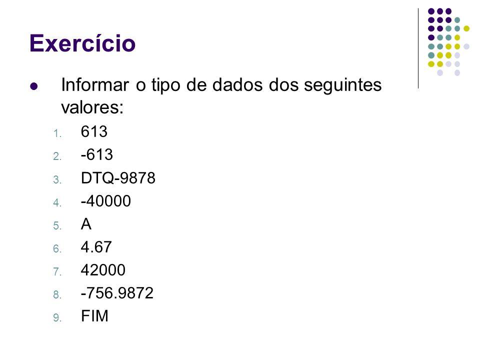 Informar o tipo de dados dos seguintes valores: 1. 613 2. -613 3. DTQ-9878 4. -40000 5. A 6. 4.67 7. 42000 8. -756.9872 9. FIM Exercício