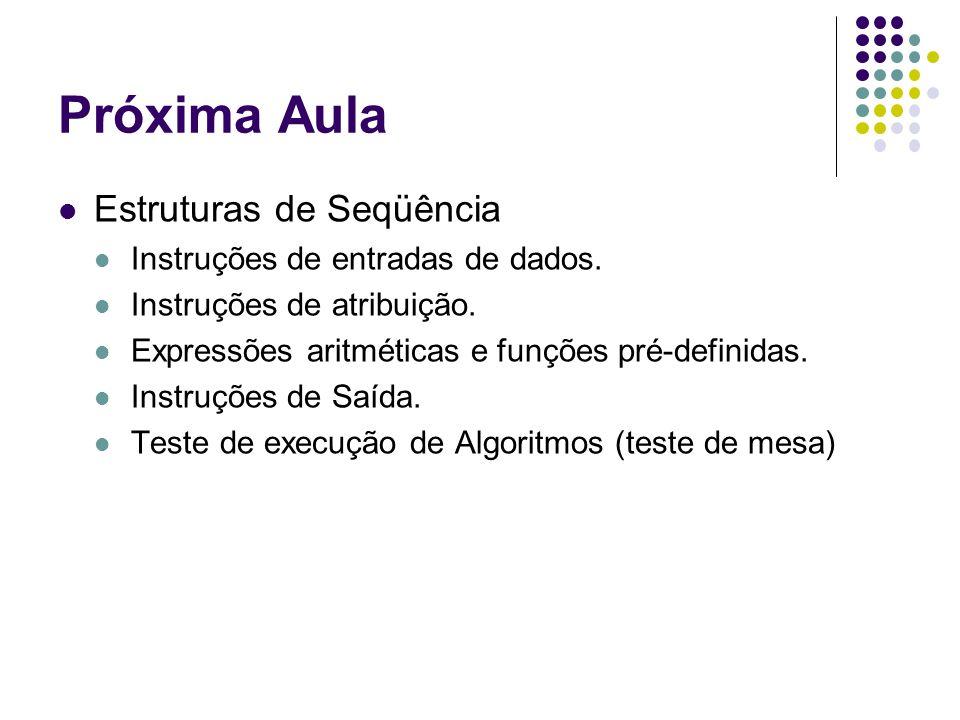 Próxima Aula Estruturas de Seqüência Instruções de entradas de dados. Instruções de atribuição. Expressões aritméticas e funções pré-definidas. Instru