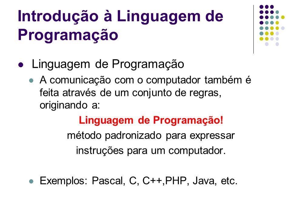 Introdução à Linguagem de Programação Linguagem de Programação A comunicação com o computador também é feita através de um conjunto de regras, origina