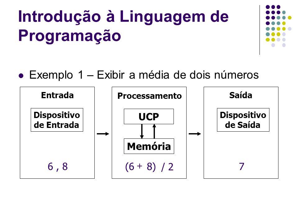 Exemplo 1 – Exibir a média de dois números Processamento EntradaSaída Dispositivo de Entrada Dispositivo de Saída Memória UCP 6, 8 (6 8)7 Introdução à
