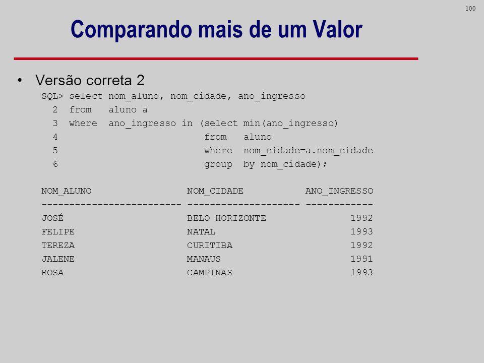 100 Comparando mais de um Valor Versão correta 2 SQL> select nom_aluno, nom_cidade, ano_ingresso 2 from aluno a 3 where ano_ingresso in (select min(an