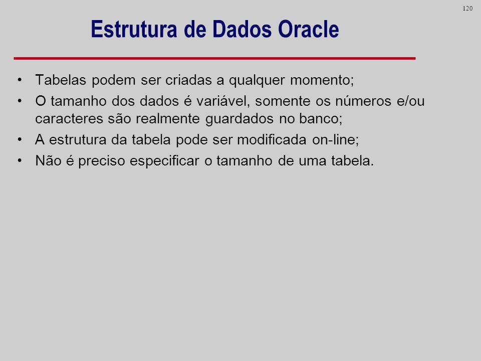 120 Estrutura de Dados Oracle Tabelas podem ser criadas a qualquer momento; O tamanho dos dados é variável, somente os números e/ou caracteres são rea