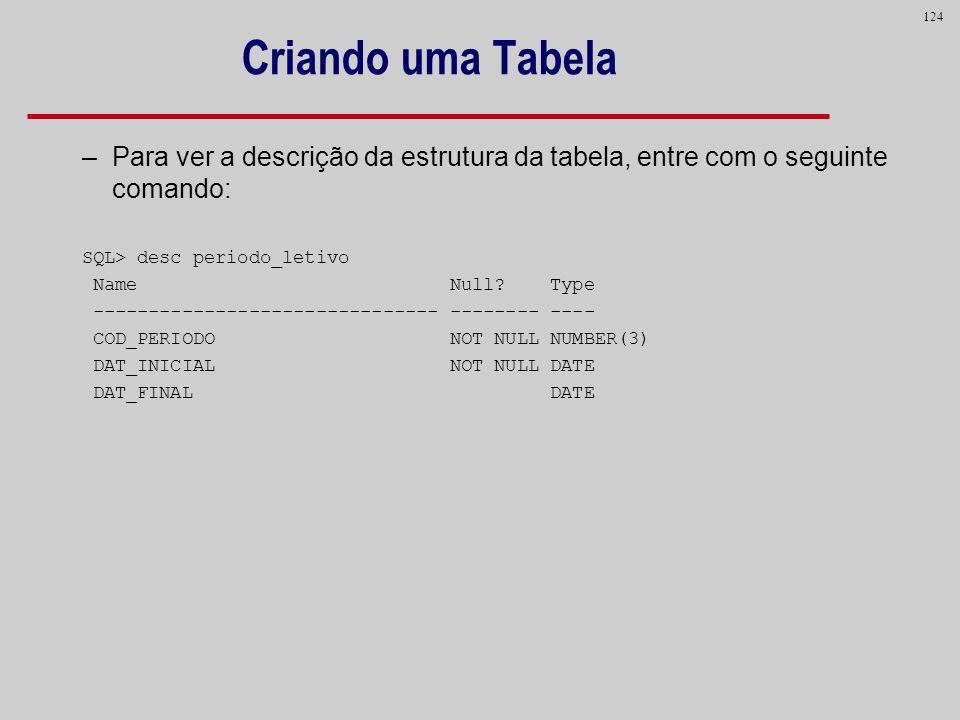 124 Criando uma Tabela –Para ver a descrição da estrutura da tabela, entre com o seguinte comando: SQL> desc periodo_letivo Name Null? Type ----------