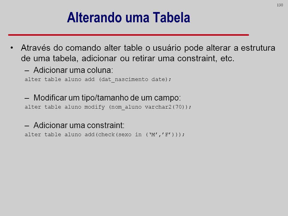 130 Alterando uma Tabela Através do comando alter table o usuário pode alterar a estrutura de uma tabela, adicionar ou retirar uma constraint, etc. –A