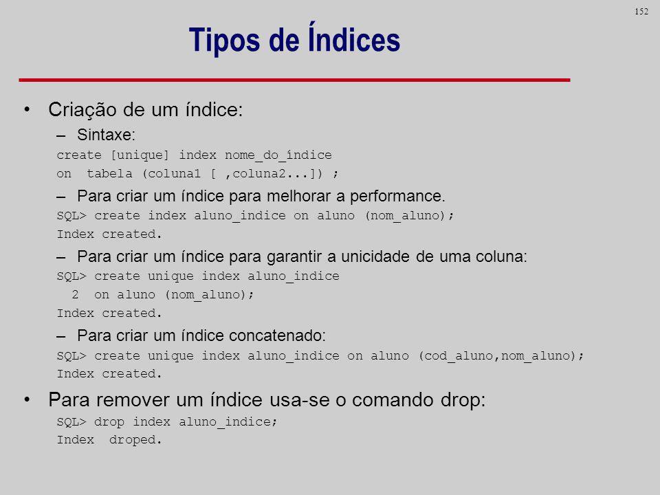 152 Tipos de Índices Criação de um índice: –Sintaxe: create [unique] index nome_do_índice on tabela (coluna1 [,coluna2...]) ; –Para criar um índice pa
