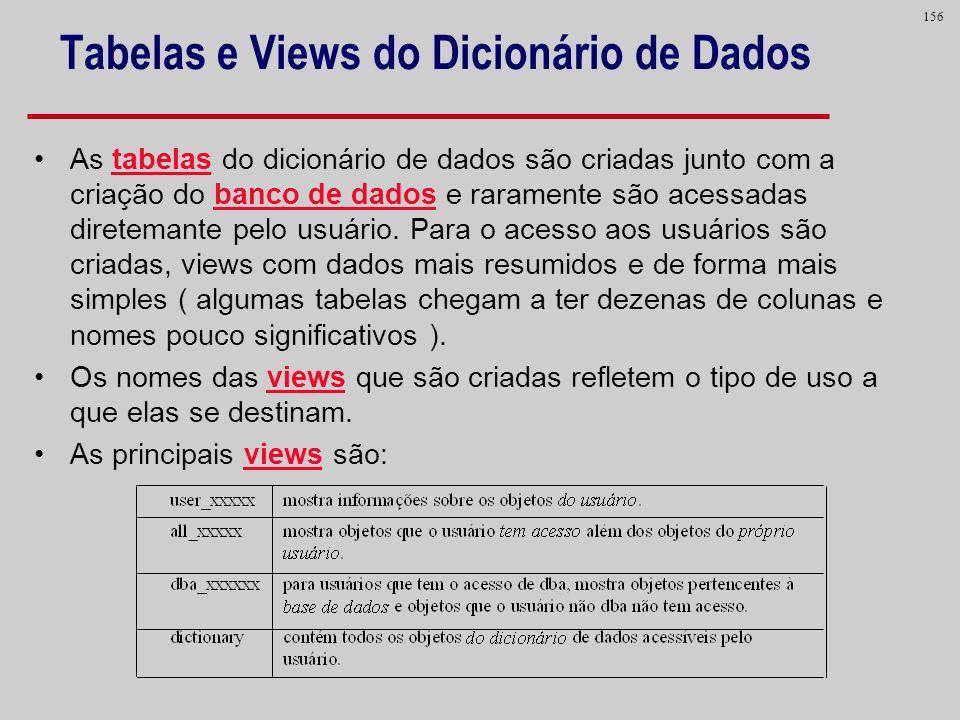 156 Tabelas e Views do Dicionário de Dados As tabelas do dicionário de dados são criadas junto com a criação do banco de dados e raramente são acessad