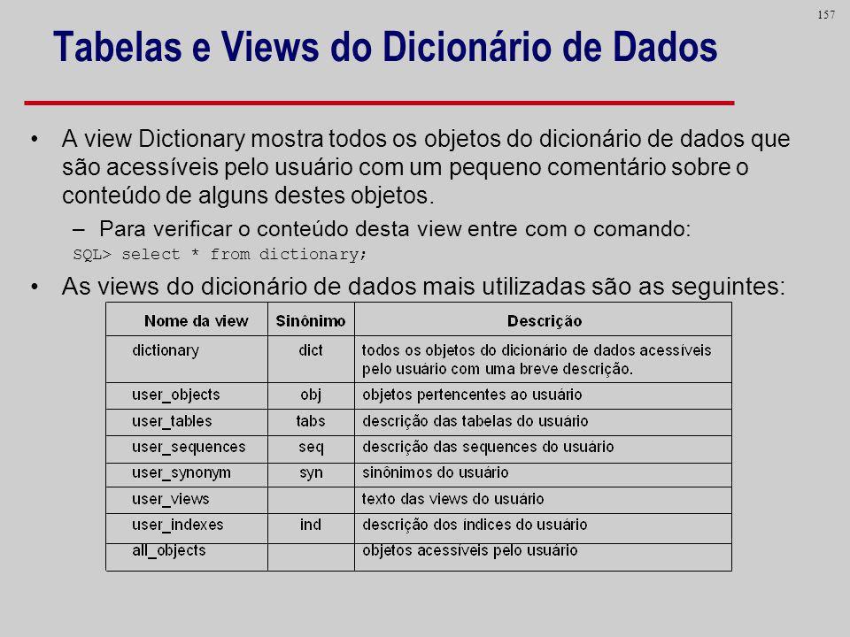 157 Tabelas e Views do Dicionário de Dados A view Dictionary mostra todos os objetos do dicionário de dados que são acessíveis pelo usuário com um peq