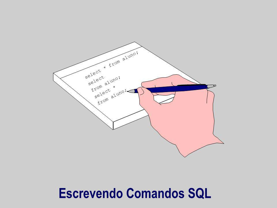 Escrevendo Comandos SQL select * from aluno; select from aluno; select * from aluno;
