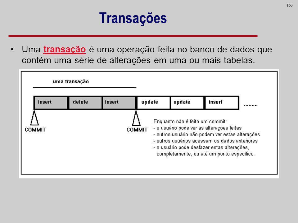163 Transações Uma transação é uma operação feita no banco de dados que contém uma série de alterações em uma ou mais tabelas.