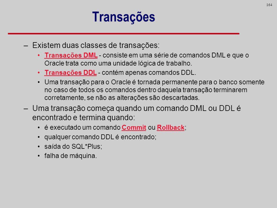 164 Transações –Existem duas classes de transações: Transações DML - consiste em uma série de comandos DML e que o Oracle trata como uma unidade lógic
