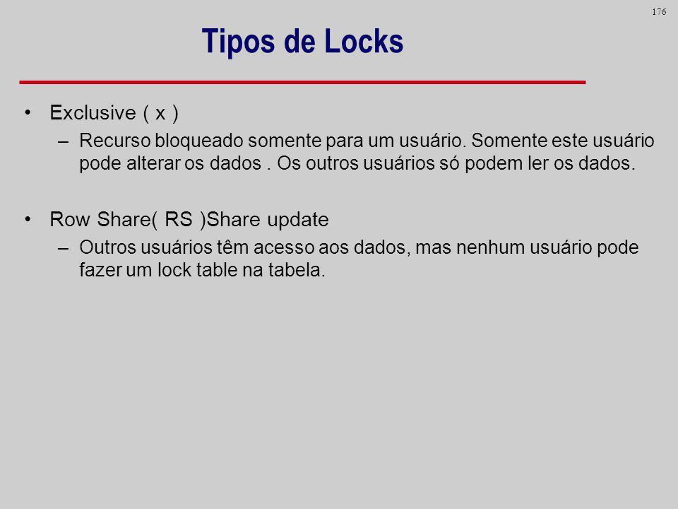 176 Tipos de Locks Exclusive ( x ) –Recurso bloqueado somente para um usuário. Somente este usuário pode alterar os dados. Os outros usuários só podem