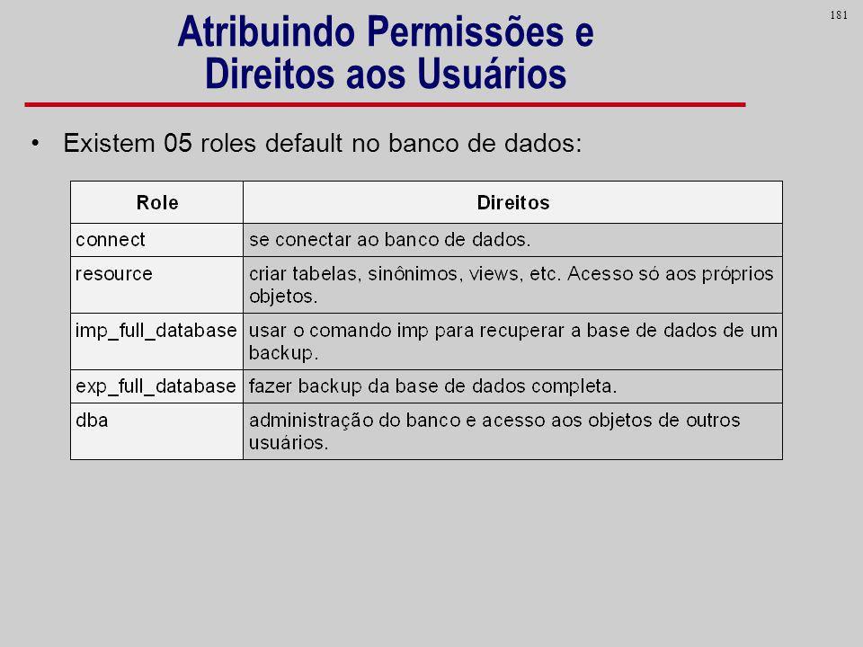 181 Atribuindo Permissões e Direitos aos Usuários Existem 05 roles default no banco de dados: