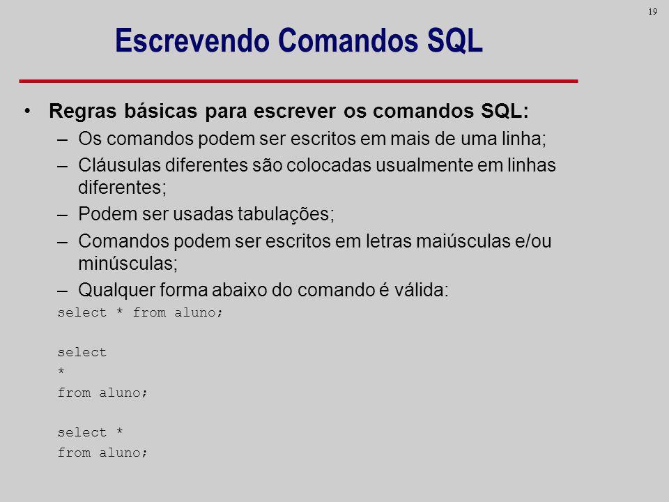 19 Escrevendo Comandos SQL Regras básicas para escrever os comandos SQL: –Os comandos podem ser escritos em mais de uma linha; –Cláusulas diferentes s