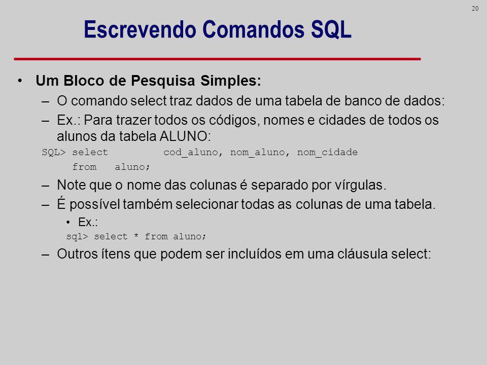 20 Escrevendo Comandos SQL Um Bloco de Pesquisa Simples: –O comando select traz dados de uma tabela de banco de dados: –Ex.: Para trazer todos os códi
