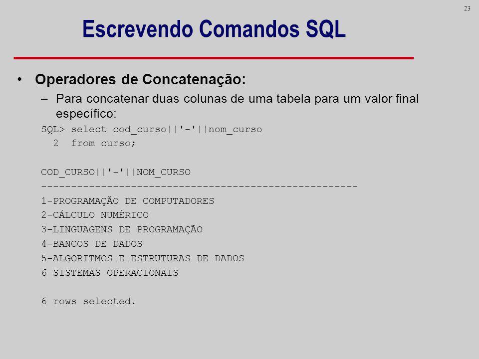23 Escrevendo Comandos SQL Operadores de Concatenação: –Para concatenar duas colunas de uma tabela para um valor final específico: SQL> select cod_cur