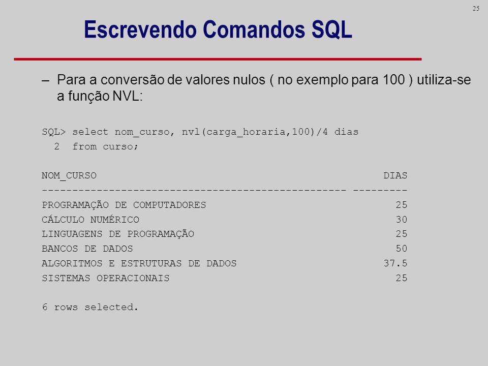 25 Escrevendo Comandos SQL –Para a conversão de valores nulos ( no exemplo para 100 ) utiliza-se a função NVL: SQL> select nom_curso, nvl(carga_horari