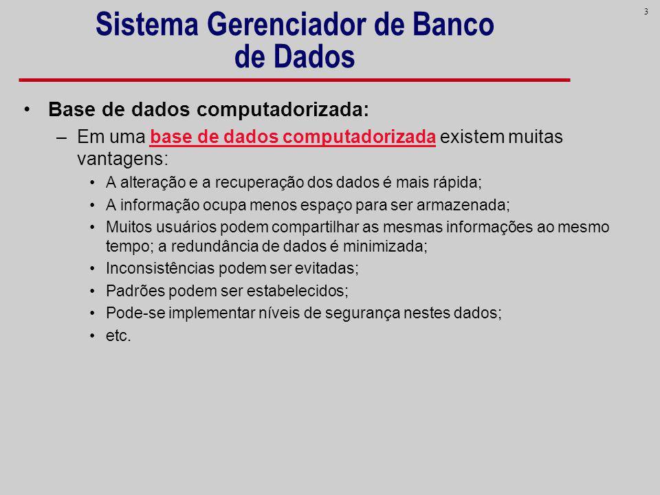3 Sistema Gerenciador de Banco de Dados Base de dados computadorizada: –Em uma base de dados computadorizada existem muitas vantagens: A alteração e a
