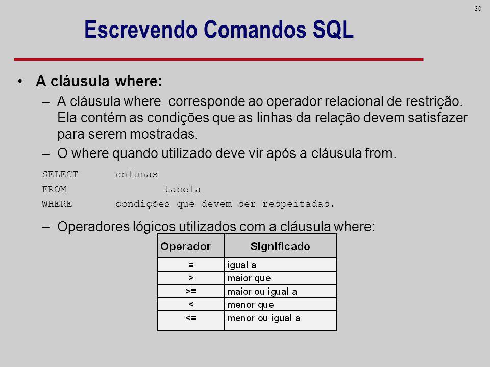 30 Escrevendo Comandos SQL A cláusula where: –A cláusula where corresponde ao operador relacional de restrição. Ela contém as condições que as linhas