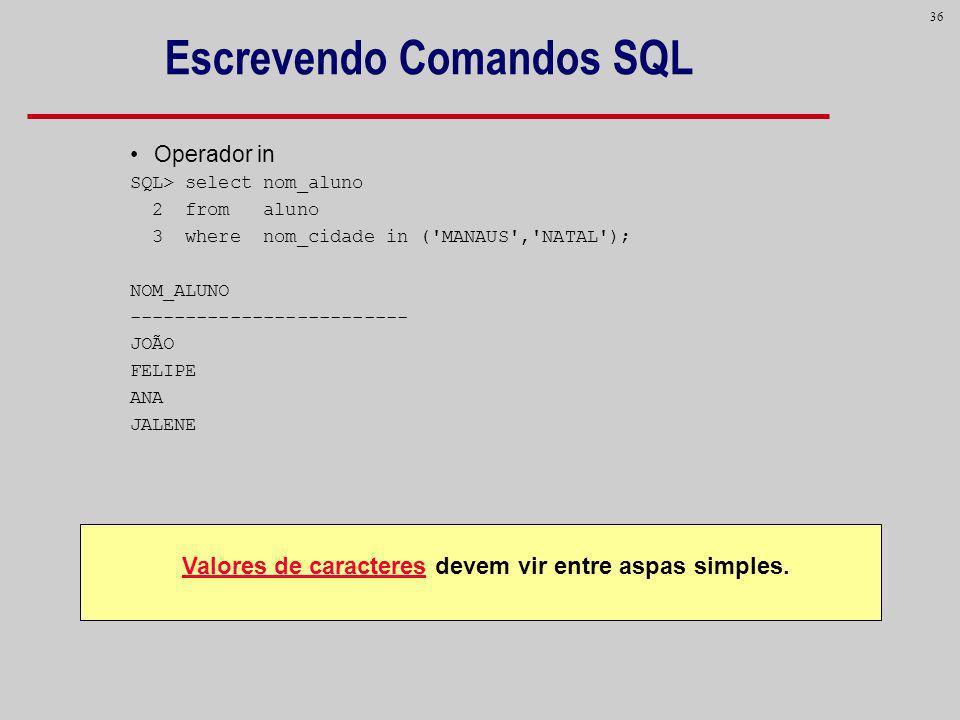 36 Escrevendo Comandos SQL Operador in SQL> select nom_aluno 2 from aluno 3 where nom_cidade in ('MANAUS','NATAL'); NOM_ALUNO ------------------------