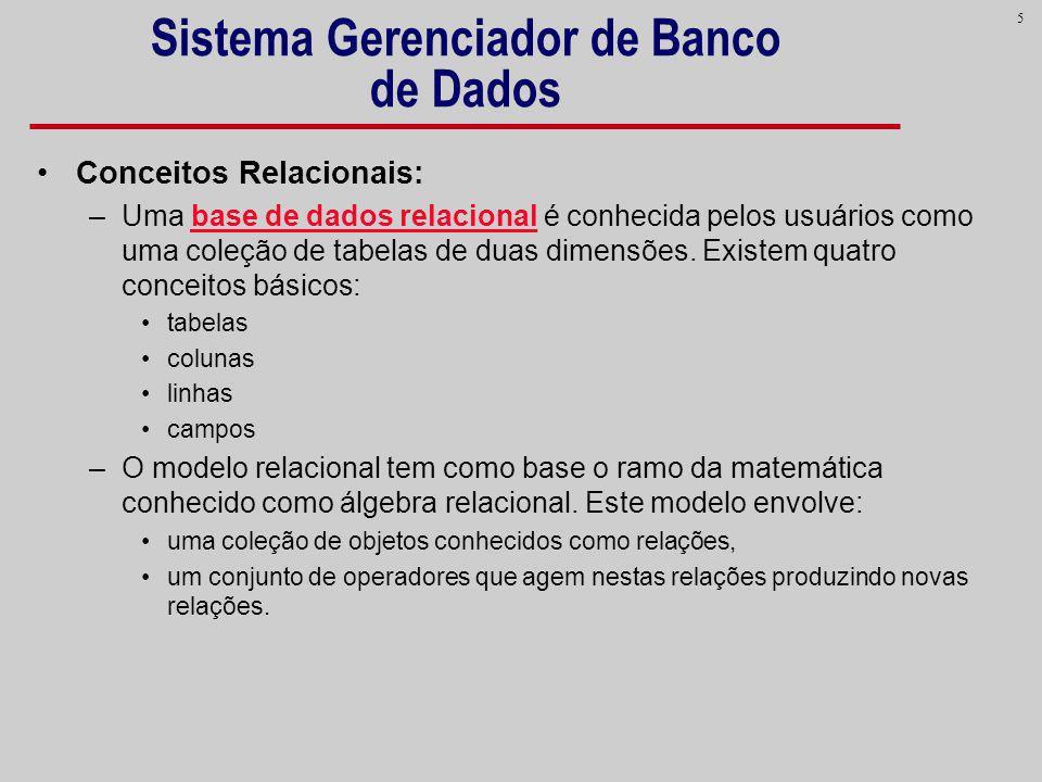 5 Sistema Gerenciador de Banco de Dados Conceitos Relacionais: –Uma base de dados relacional é conhecida pelos usuários como uma coleção de tabelas de