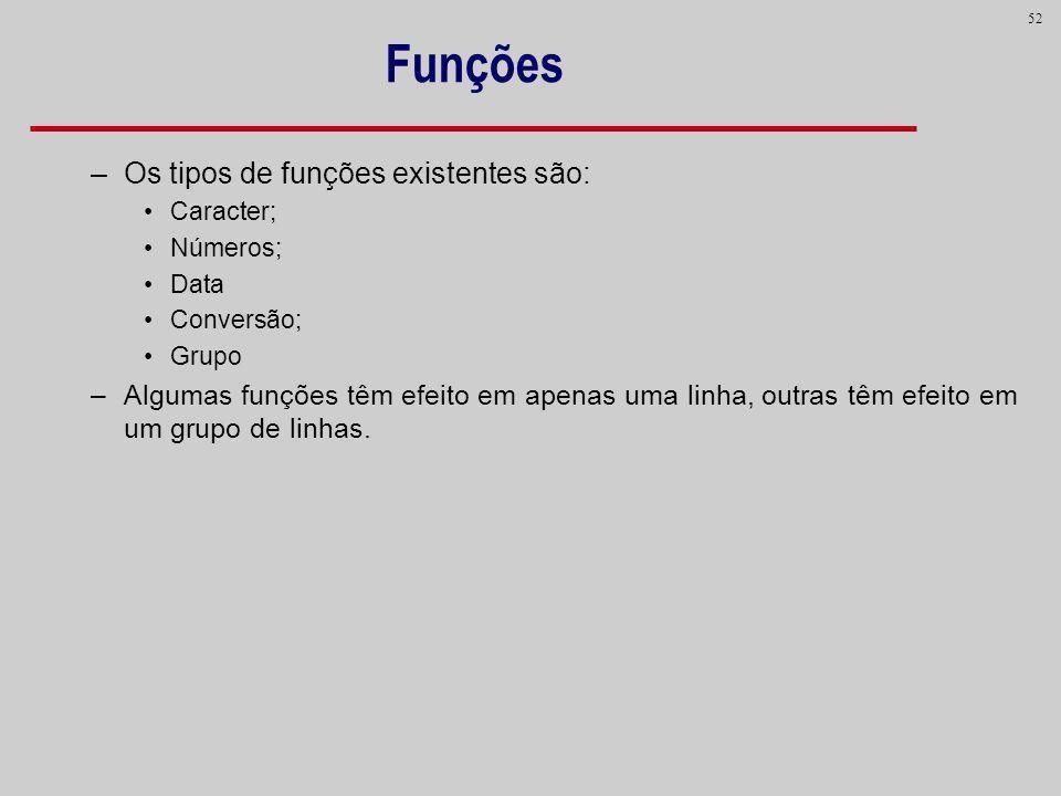 52 Funções –Os tipos de funções existentes são: Caracter; Números; Data Conversão; Grupo –Algumas funções têm efeito em apenas uma linha, outras têm e