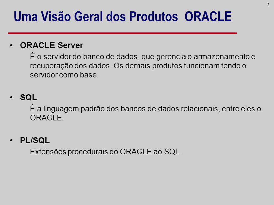 8 Uma Visão Geral dos Produtos ORACLE ORACLE Server É o servidor do banco de dados, que gerencia o armazenamento e recuperação dos dados. Os demais pr