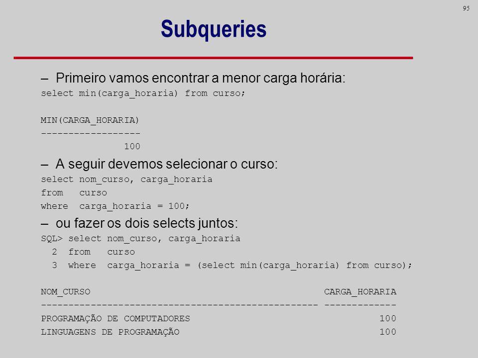 95 Subqueries –Primeiro vamos encontrar a menor carga horária: select min(carga_horaria) from curso; MIN(CARGA_HORARIA) ------------------ 100 –A segu