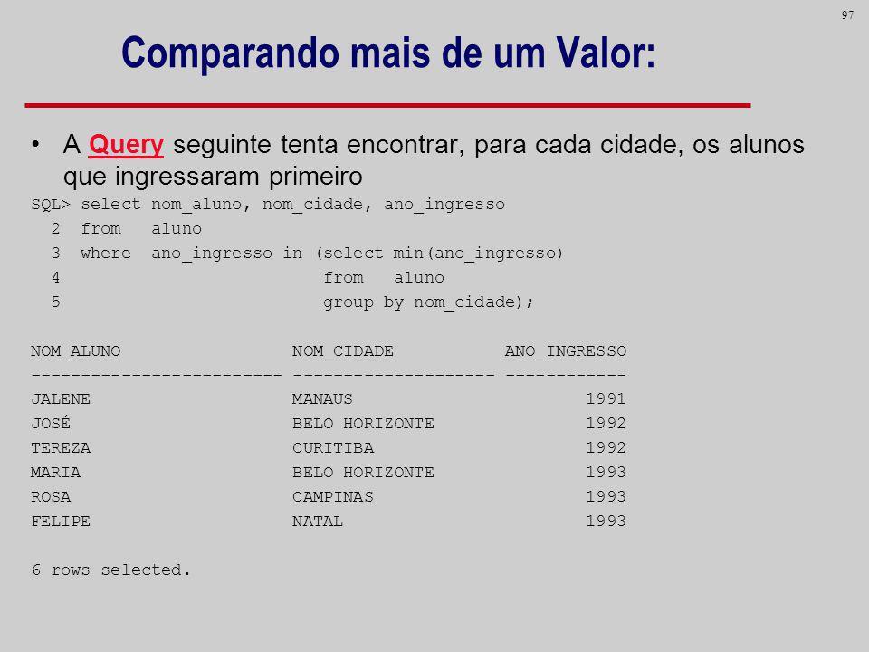 97 Comparando mais de um Valor: A Query seguinte tenta encontrar, para cada cidade, os alunos que ingressaram primeiro SQL> select nom_aluno, nom_cida